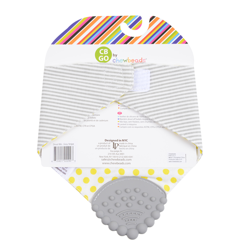 CB GO BABY COTTON DROOL BIB WITH 100% SILICONE TEETHER Grey