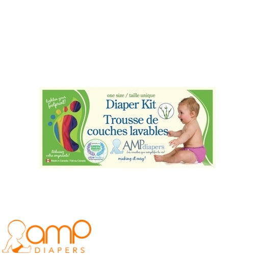 AMP Diapers- One Size Diaper Kit ~Bamboo
