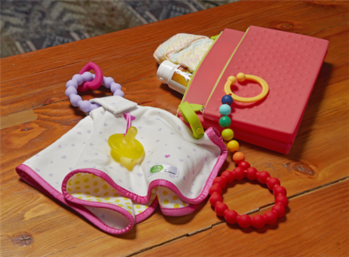 CB GO- COTTON LOVEY WITH 100% SILICONE TEETHER & PACIFIER LOOP Violate