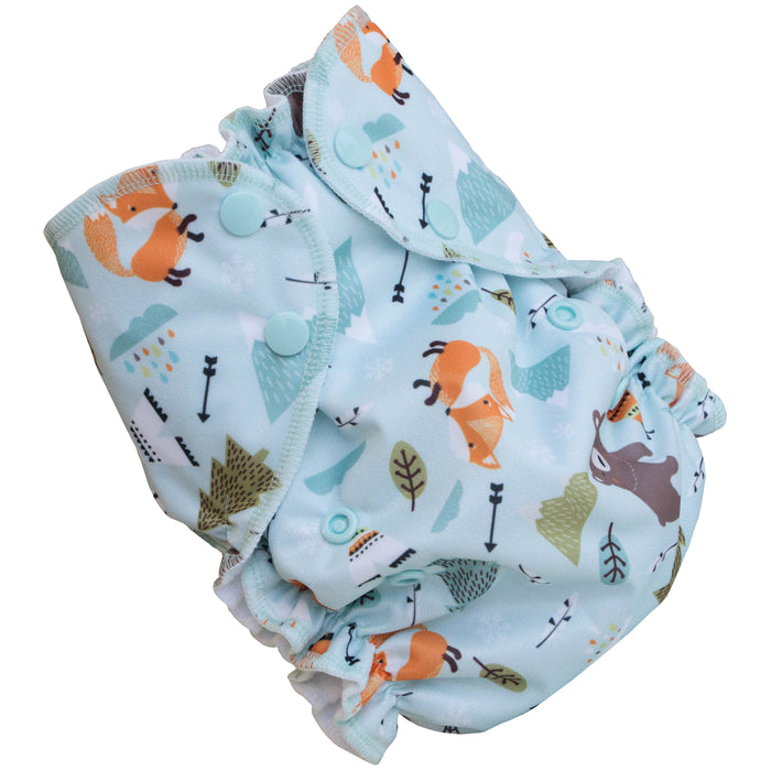 AMP Dipaers- One Size Duo spotty fox and bear Prints
