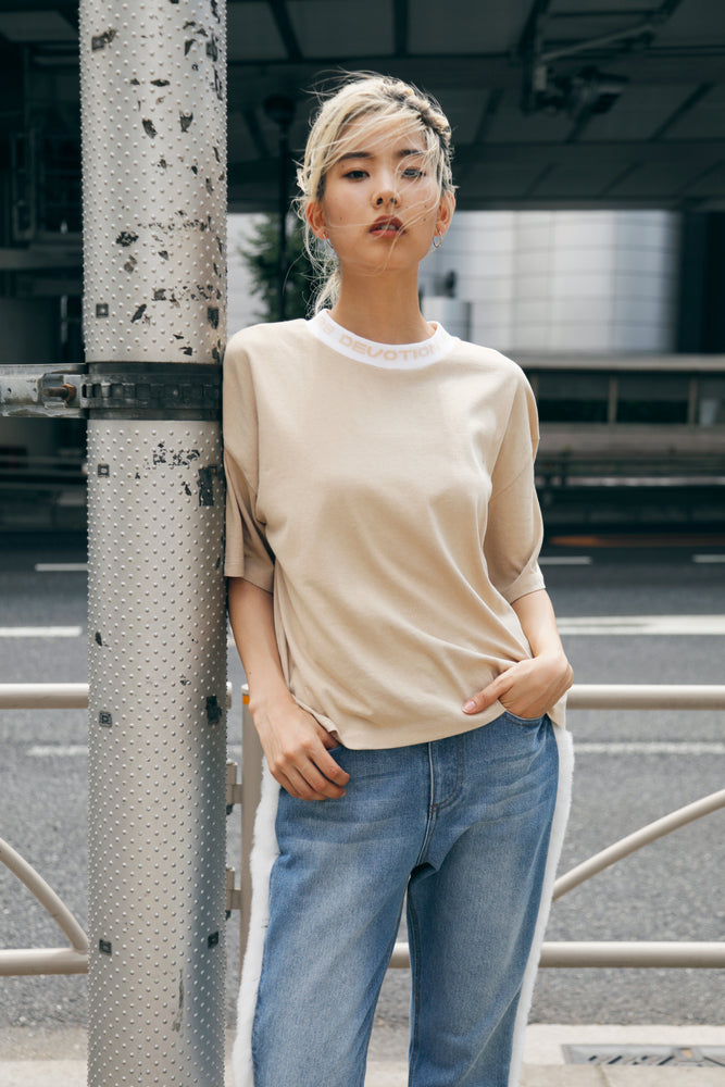 MESSAGE RIB TEE / BEIGE