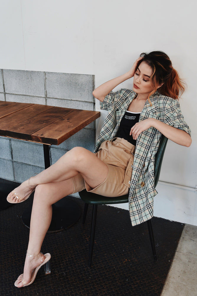 HALF SLEEVE SLIT JACKET / CHECK