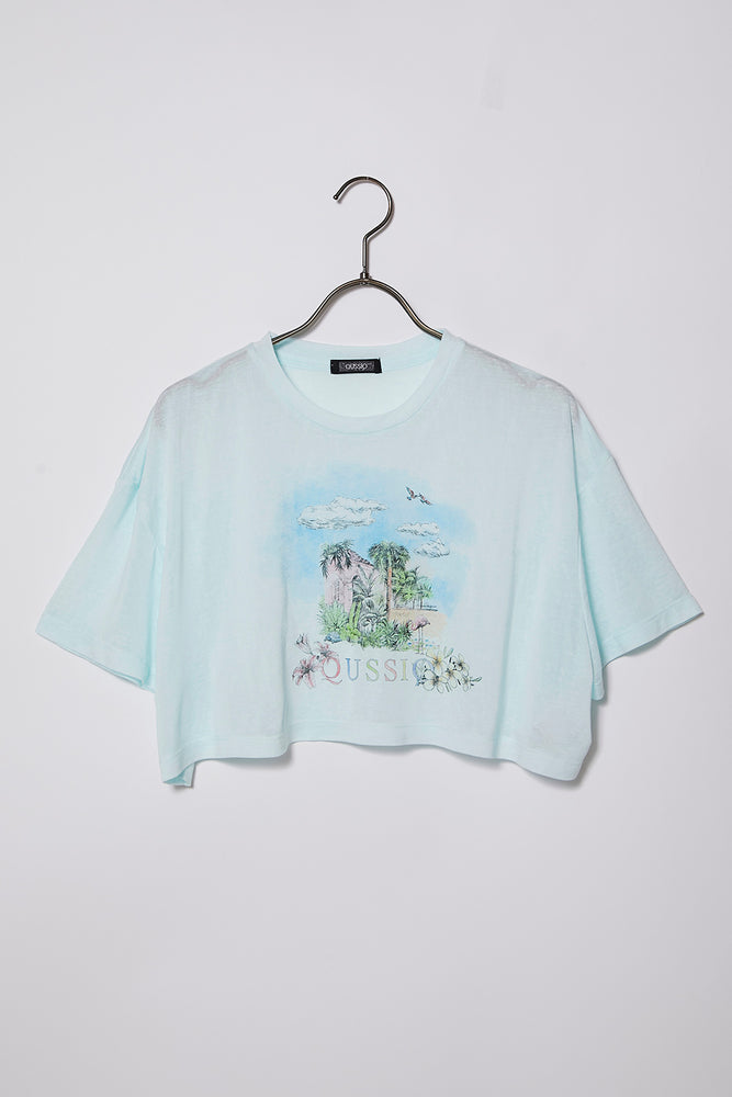 PRINT CROPPED TEE / BLUE