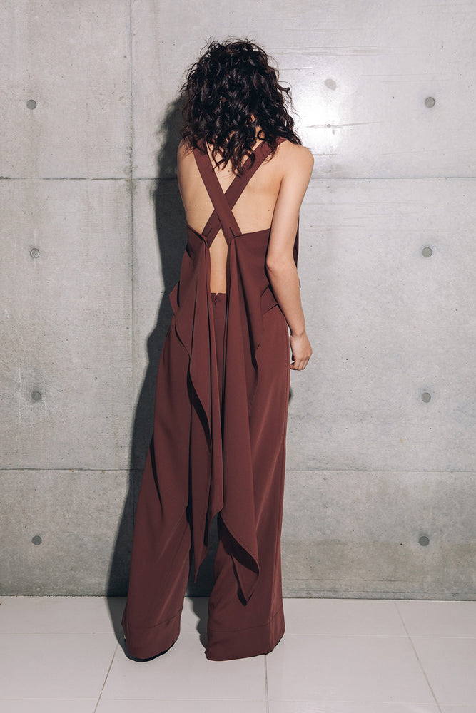 OPEN BACK 2WAY JUMP SUITS / BROWN