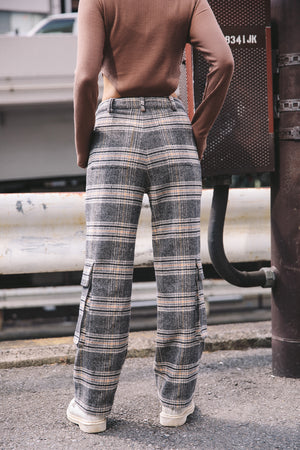 UTILITY CHECK PANTS / BEIGE