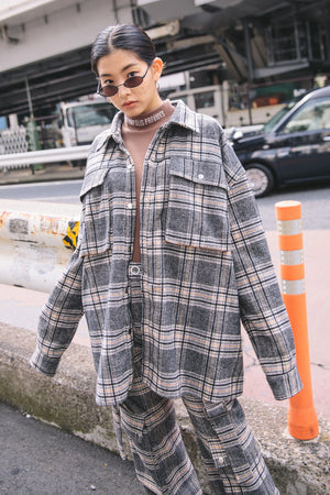 UTILITY HIS CHECK SHIRT JK / BEIGE