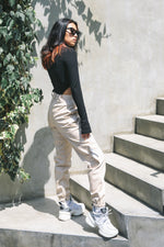 VEGAN LEATHER  UTILITY PANTS / BEIGE