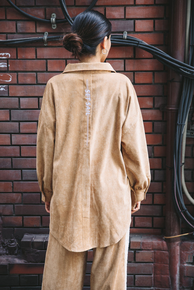 EMBROIDERY CORDUROY SHIRT / BEIGE