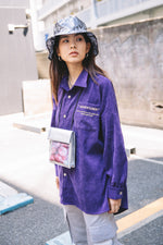 EMBROIDERY CORDUROY SHIRT / PURPLE