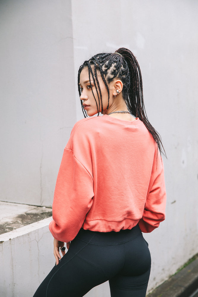 CROPED SWEAT TOP / CORAL