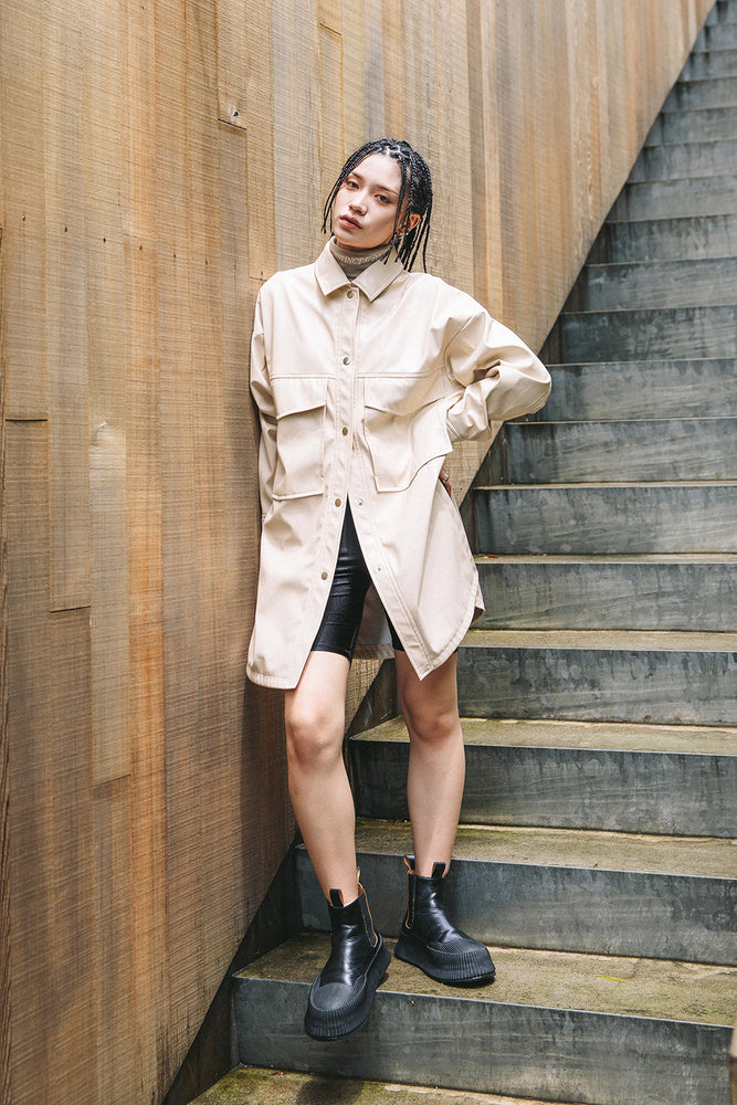 VEGAN LEATHER SHIRT JACKET / BEIGE