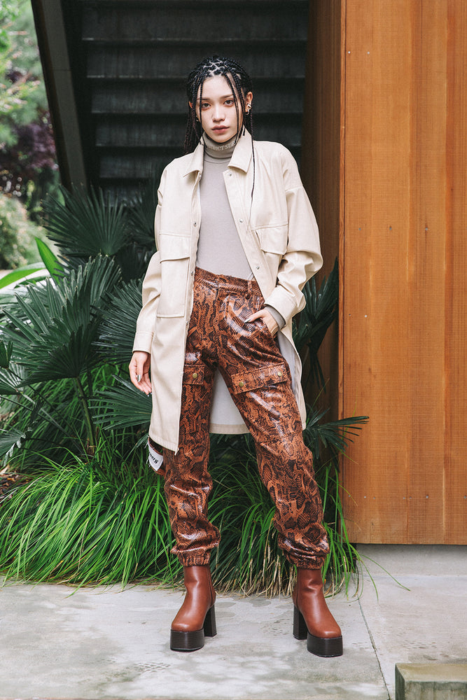 VEGAN LEATHER  UTILITY PANTS / PYTHON