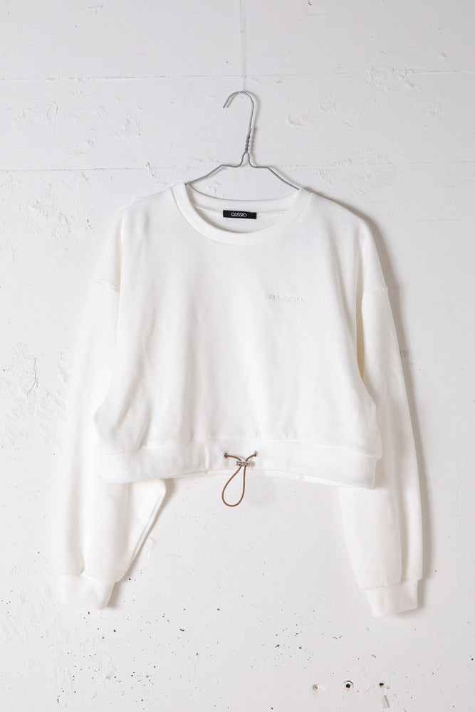 CROPED SWEAT TOP / WHITE