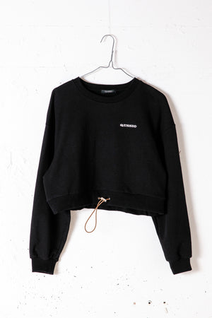 CROPPED SWEAT TOP / BLACK