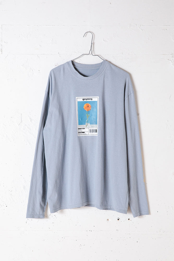 FLOWER PHOTO PRINT L/S TEE / BLUE
