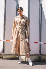UTILITY SHIRT DRESS / BEIGE