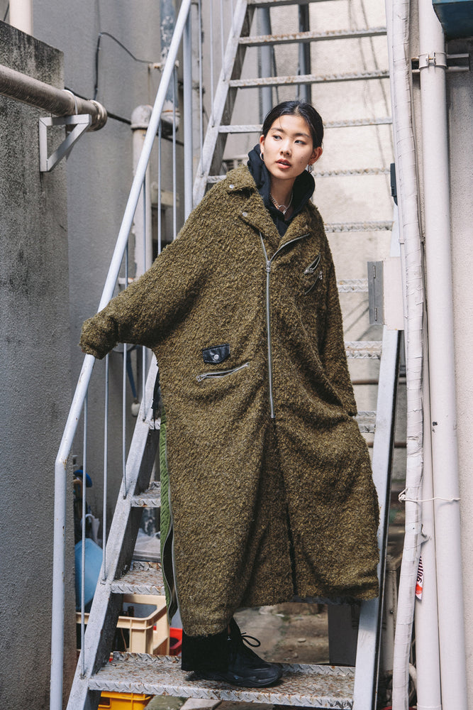 SWITCHING FLUFFY COAT / KHAKI