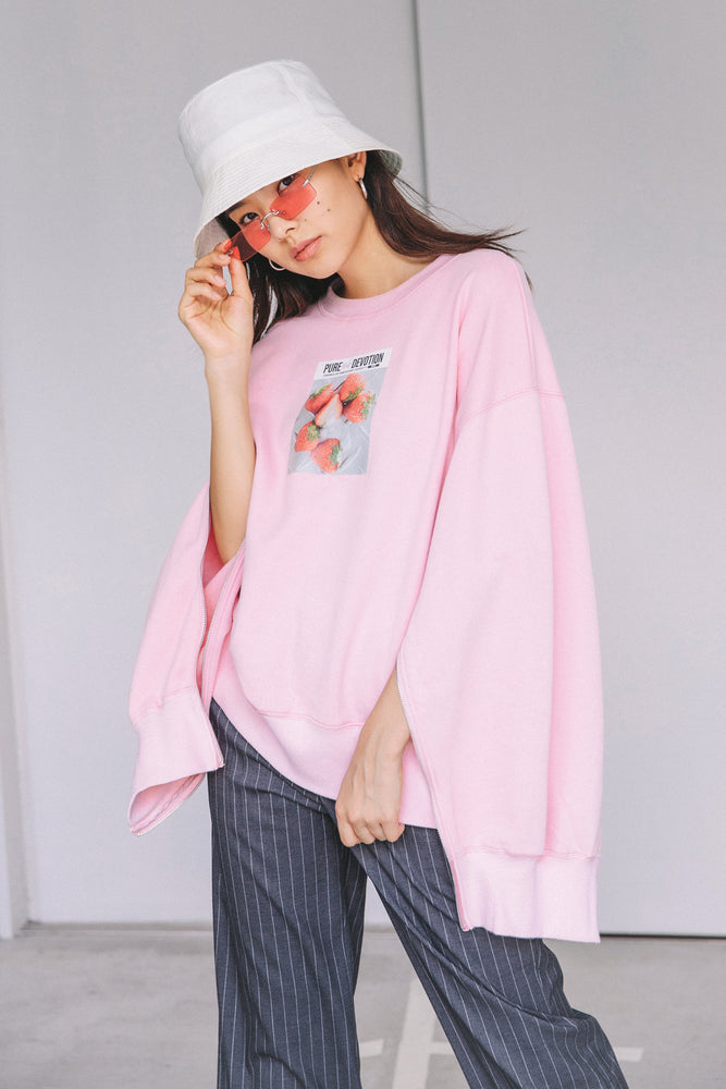 SLIDE SLEEVE FRUITS SWEAT PO / PINK