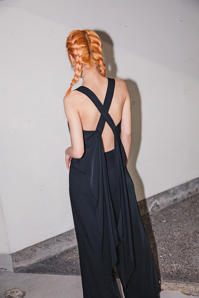 OPEN BACK 2WAY JUMP SUITS / BLACK