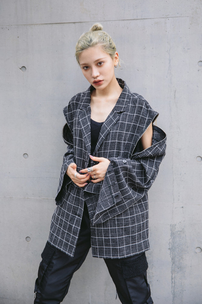 LINE CHECK ARRANGEABLE JACKET / BLACK