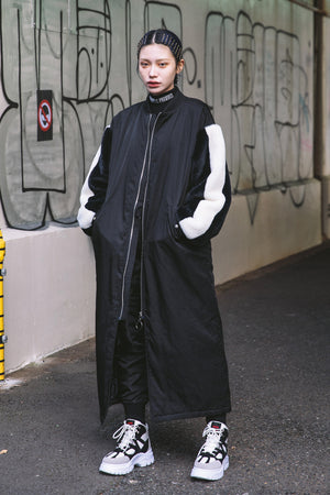 FUR SLEEVE LONG MA-1 / BLACK