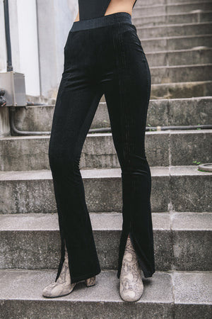 CENTER SLIT VELOUR LEGGINGS / BLACK