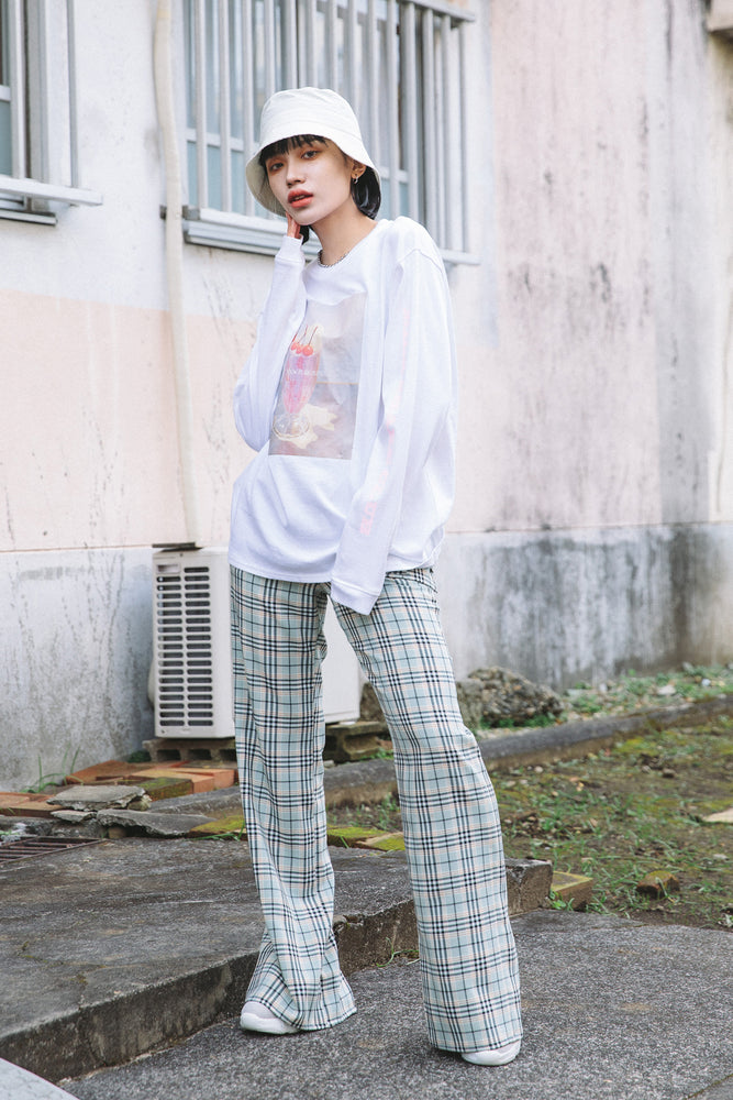 BACK SLIT POCHETTE PANTS / CHECK