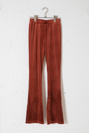 CENTER SLIT VELOUR LEGGINGS / BROWN