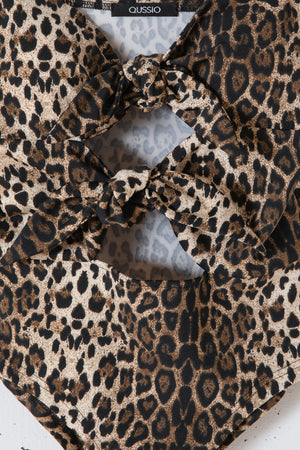 ANIMAL TIE FRONT BODY SUITS / LEOPARD