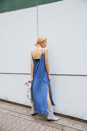 SLITSLIP DRESS / BLUE