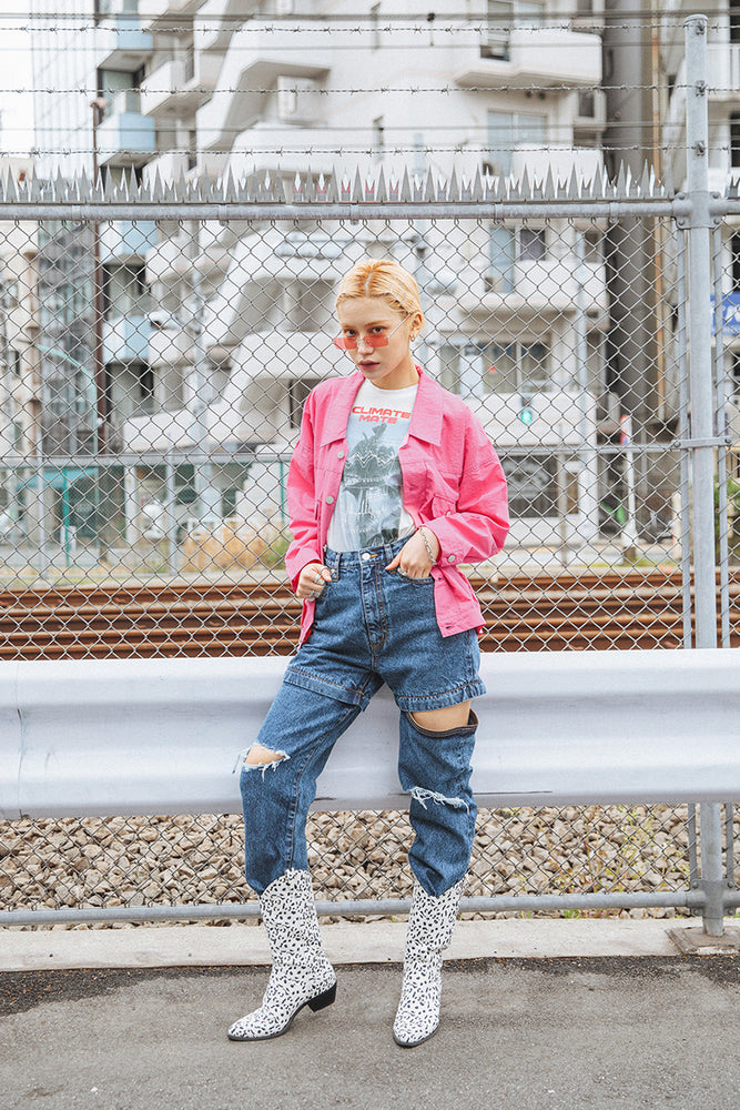 DROP SHOULDER NYLON JACKET / PINK