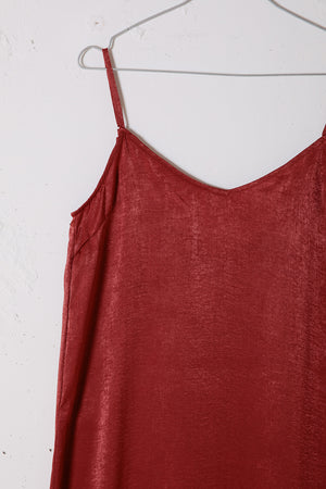 SLITSLIP DRESS / BROWN