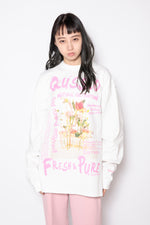 GRAFFITI FLOWER PHOTO PRINT L/S TEE / WHITE