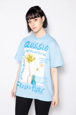 GRAFFITI FLOWER PHOTO PRINT TEE / BLUE