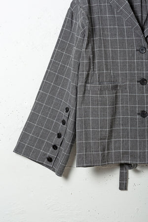 LINE CHECK ARRANGEABLE JACKET / GRAY