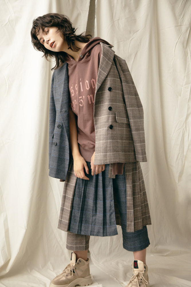 ASYMMETRY PANTS IN SKIRT / CHECK