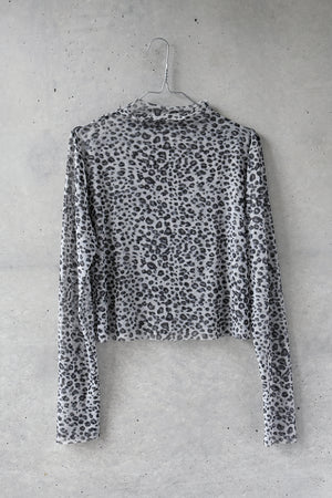 SHEER LAME LEOPARD TOP / GRAY
