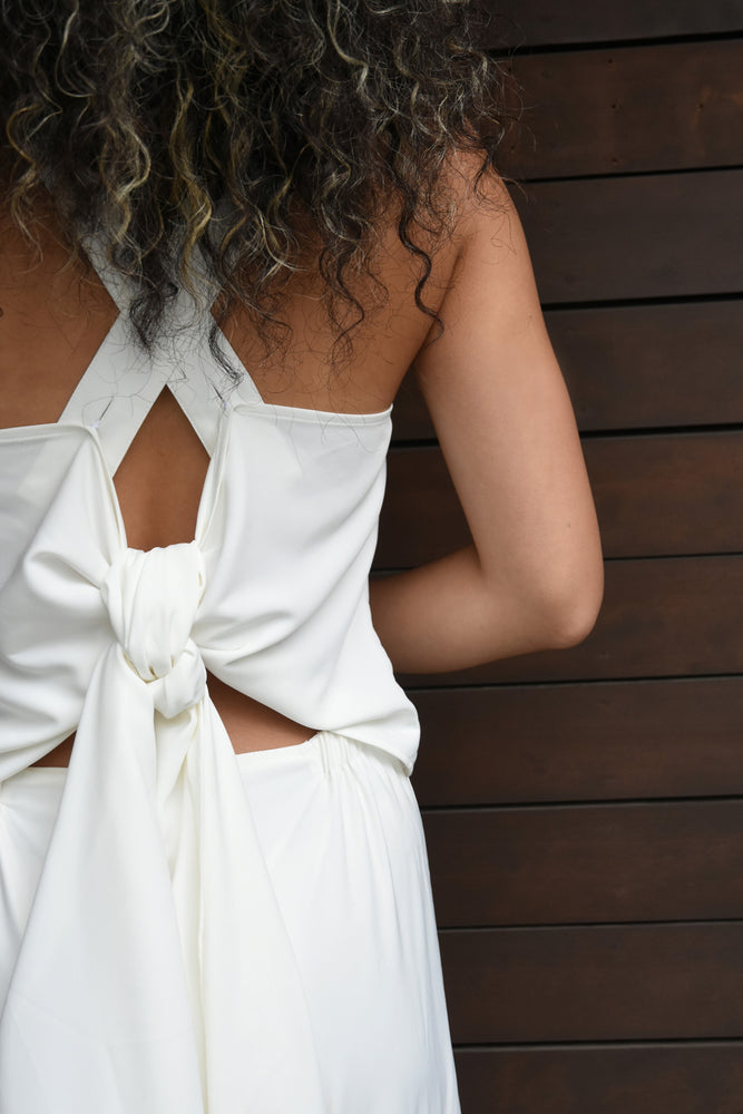 OPEN BACK 3WAY JUMP SUIT / WHITE
