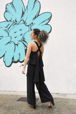 OPEN BACK 3WAY JUMP SUIT / BLACK