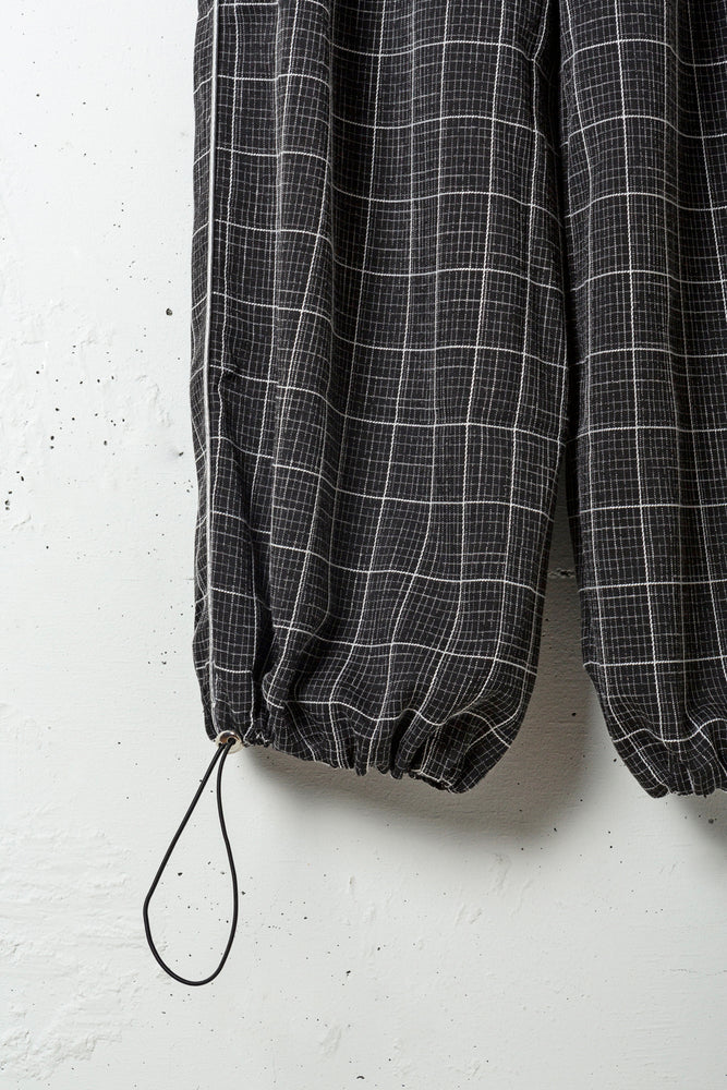 LINE CHECK ARRANGEABLE PANTS / BLACK