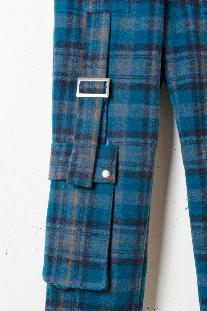 UTILITY CHECK PANTS / BLUE