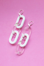 【 VIDAKUSH 】CRISTAL CLEAR CHAIN EARRINGS / WHITE