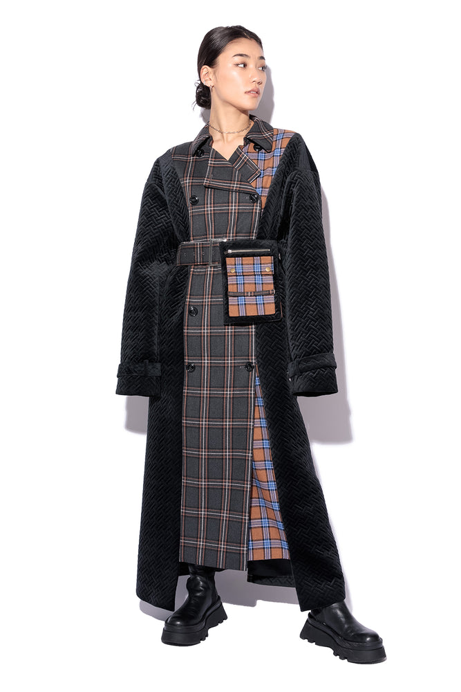 SWITCHING TRENCH COAT / CHECK