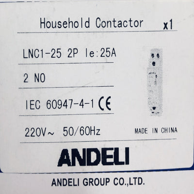 Single Phase Moduler Contactor 25A 2Pole DZL6N2P