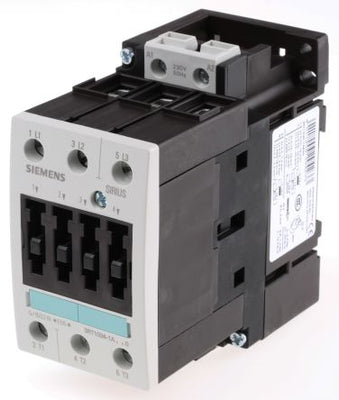 Siemens Sirius Classic 3RT1034-1AP00 3 Pole Contactor, 3NO, 32 A, 15 kW, 230 V ac Coil
