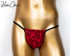 Graceful Grotto - G-String Thong for Men Black/Red