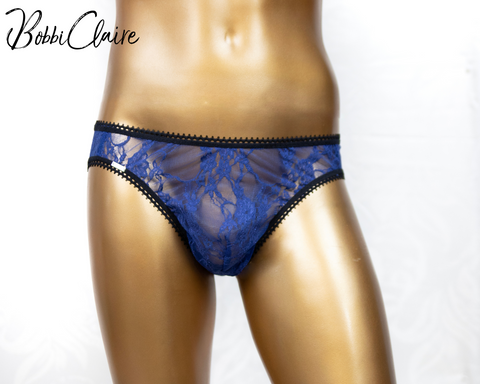 Blue lace brief for men, people with packages, transgender, gay, sissy panty, femme men