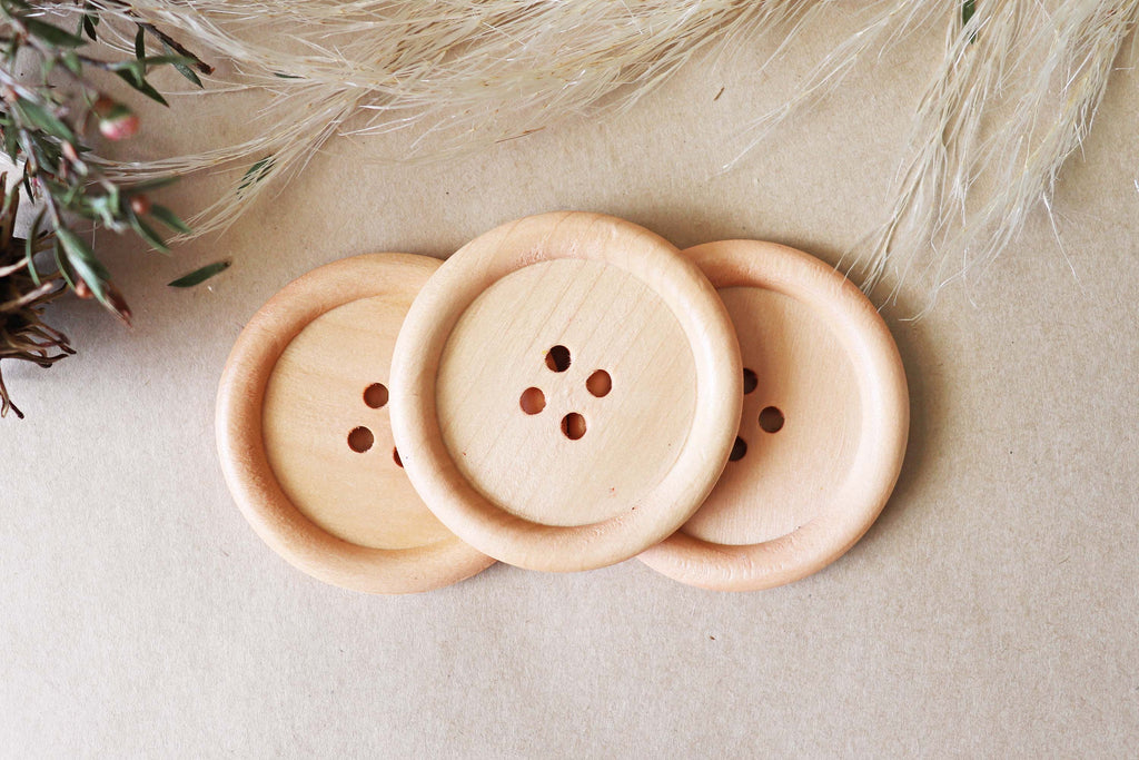 Wood Buttons Pack - Large 5cm