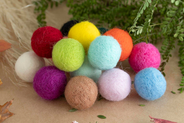 Felt Balls - Wool (Mixed Colours)  PK 10