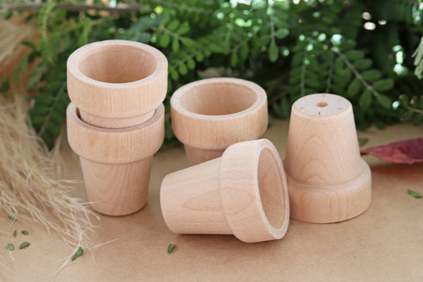 Tiny Wooden Flower Pots (Pk 5)